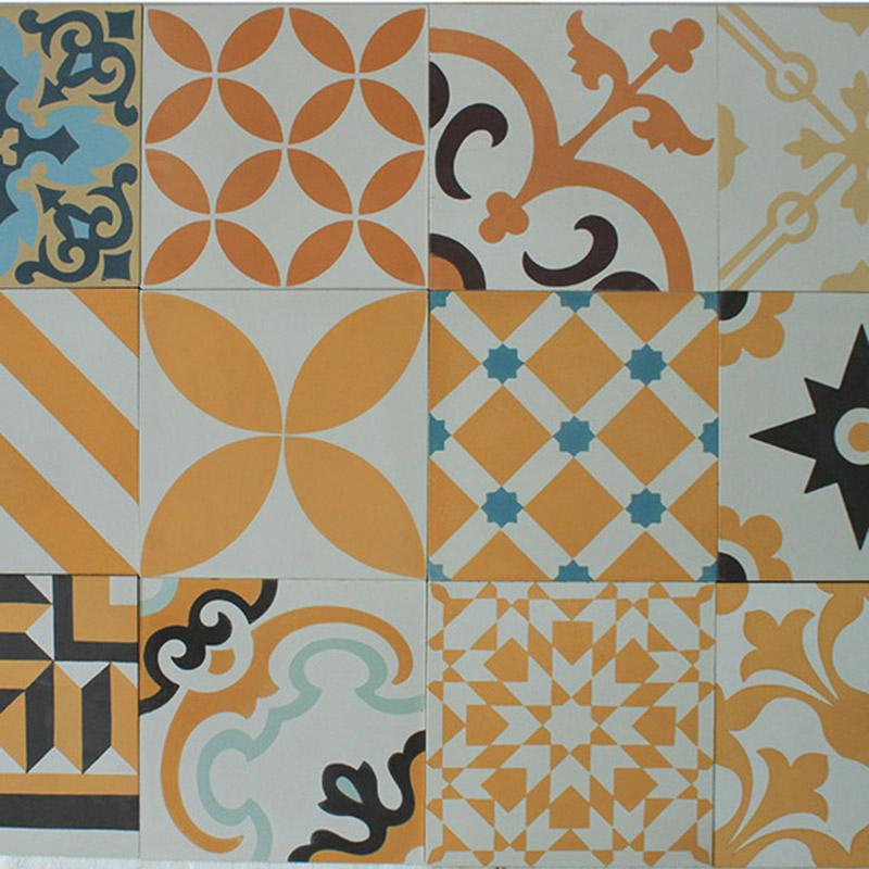 Encaustic Cement Tile - Yellow Patchwork | Hadeda Tiles